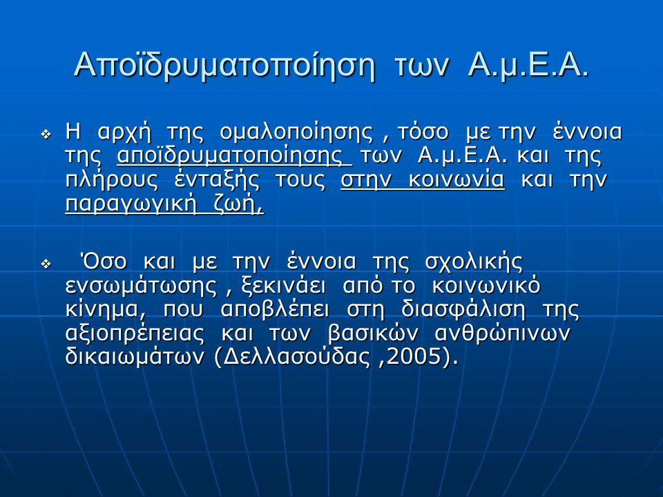 Αποϊδρυματοποίηση των Α.μ.Ε.Α.