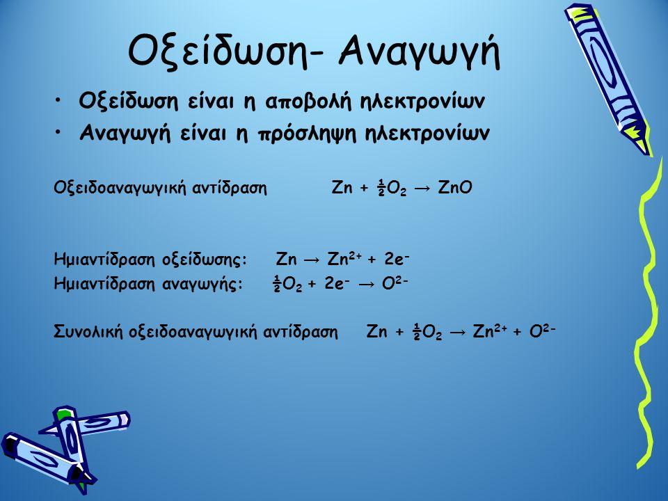 Οξείδωση- Αναγωγή Οξείδωση είναι η αποβολή ηλεκτρονίων