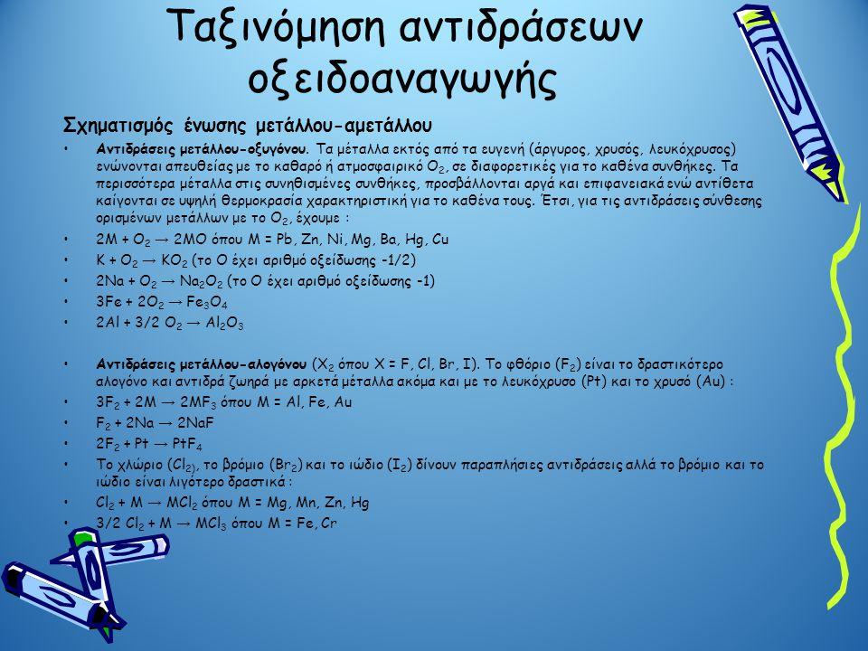 Ταξινόμηση αντιδράσεων οξειδοαναγωγής