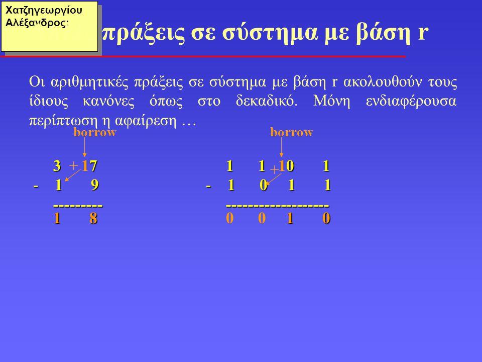 Απλές πράξεις σε σύστημα με βάση r