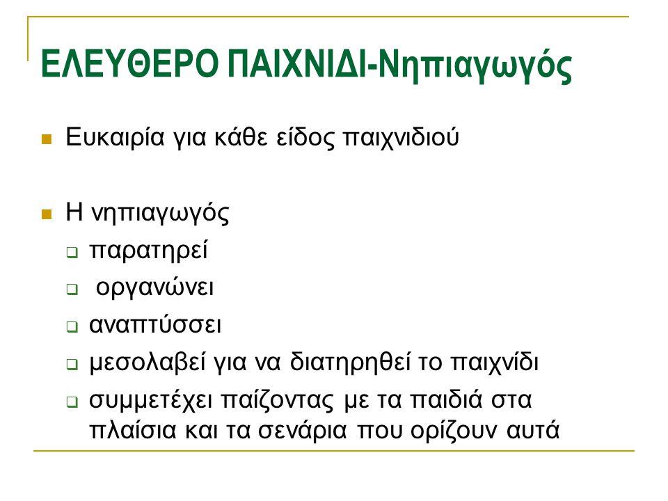 ΕΛΕΥΘΕΡΟ ΠΑΙΧΝΙΔΙ-Νηπιαγωγός