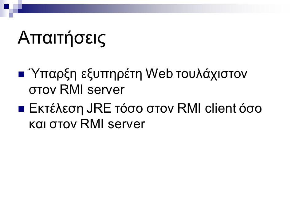 Απαιτήσεις Ύπαρξη εξυπηρέτη Web τουλάχιστον στον RMI server