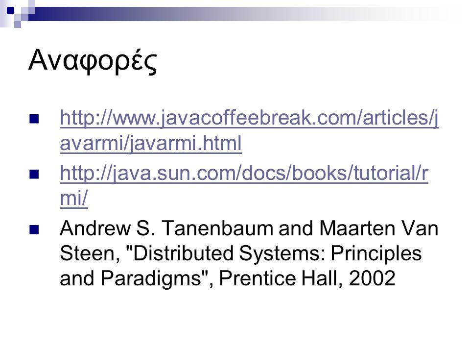 Αναφορές http://www.javacoffeebreak.com/articles/javarmi/javarmi.html