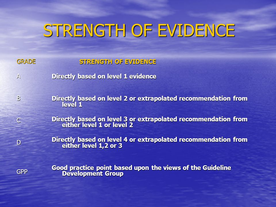 STRENGTH OF EVIDENCE GRADE STRENGTH OF EVIDENCE A