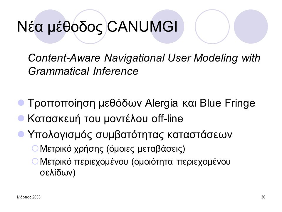 Νέα μέθοδος CANUMGI Content-Aware Navigational User Modeling with Grammatical Inference. Τροποποίηση μεθόδων Alergia και Blue Fringe.