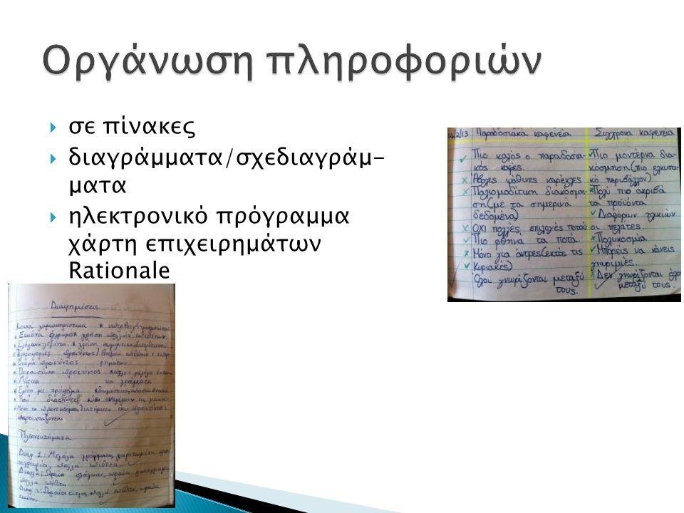 Οργάνωση πληροφοριών σε πίνακες διαγράμματα/σχεδιαγράμ- ματα