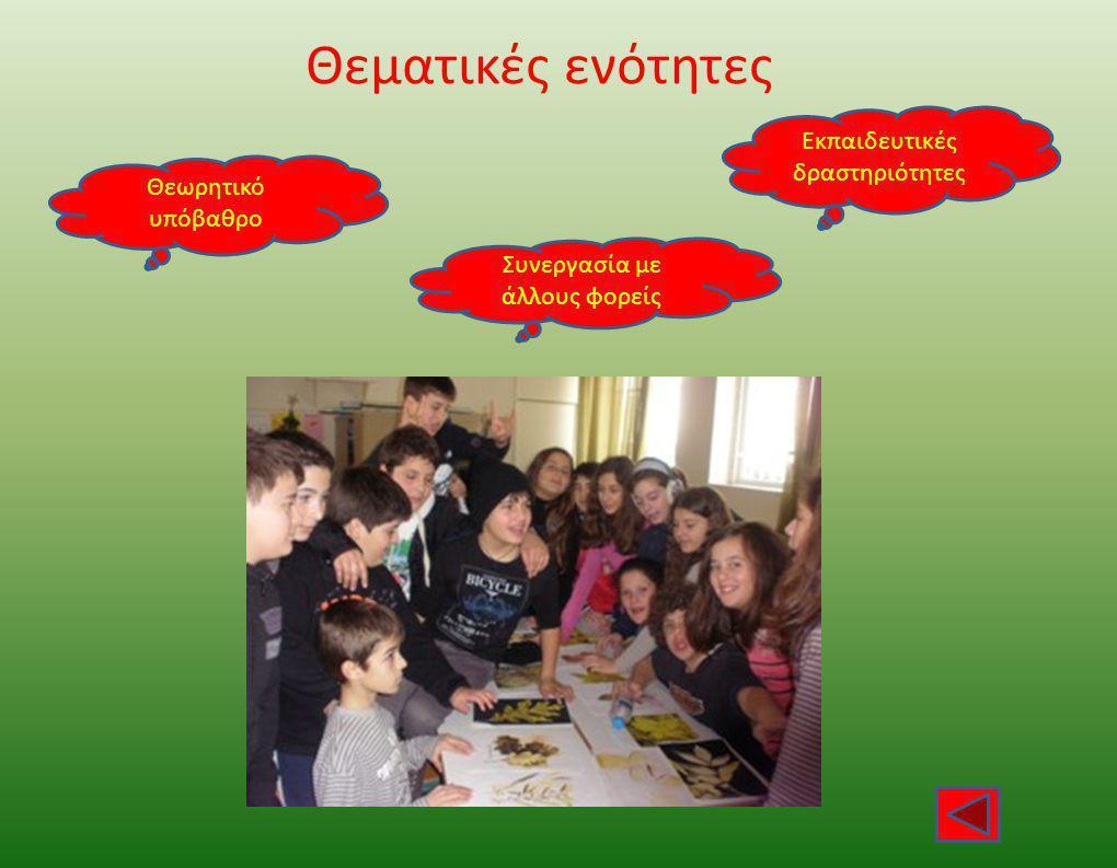 Θεματικές ενότητες Εκπαιδευτικές δραστηριότητες Θεωρητικό υπόβαθρο