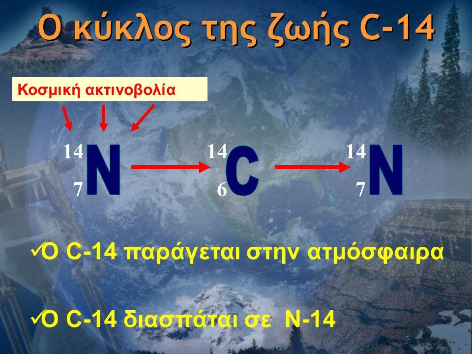 Ο κύκλος της ζωής C-14 N C N Ο C-14 παράγεται στην ατμόσφαιρα