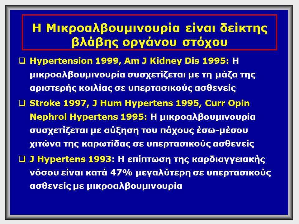 Η Μικροαλβουμινουρία είναι δείκτης βλάβης οργάνου στόχου