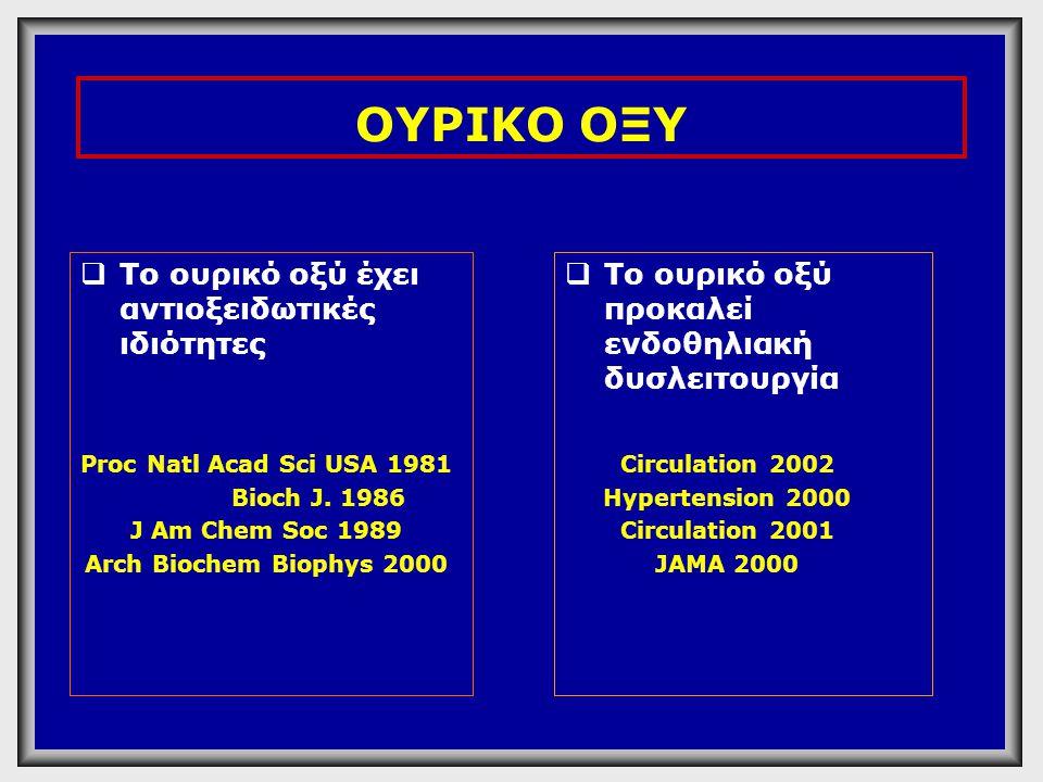 ΟΥΡΙΚΟ ΟΞΥ Το ουρικό οξύ έχει αντιοξειδωτικές ιδιότητες