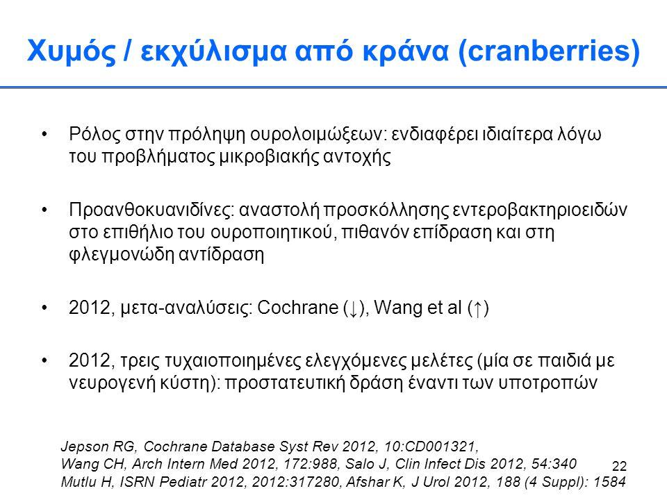 Χυμός / εκχύλισμα από κράνα (cranberries)