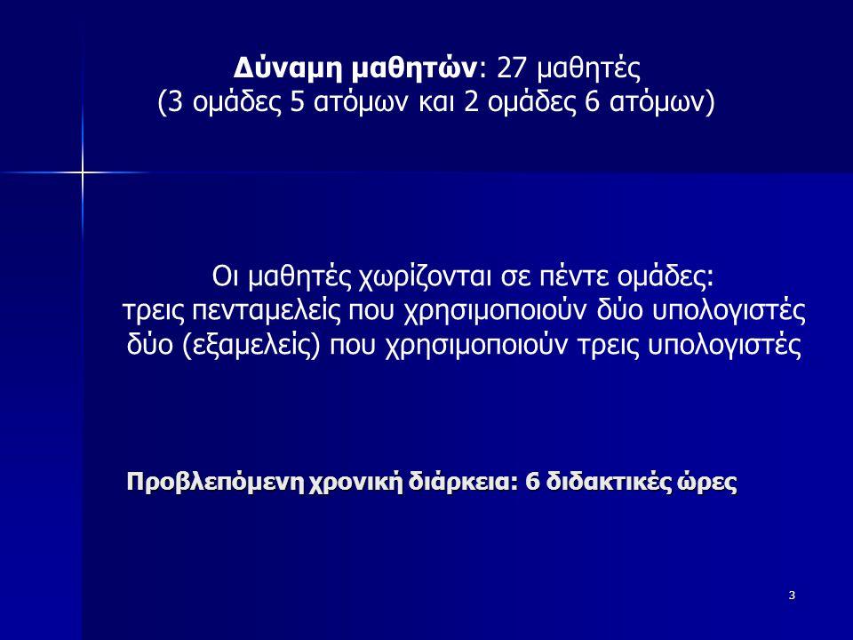 Δύναμη μαθητών: 27 μαθητές (3 ομάδες 5 ατόμων και 2 ομάδες 6 ατόμων)