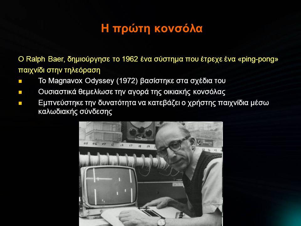 Η πρώτη κονσόλα Ο Ralph Baer, δημιούργησε το 1962 ένα σύστημα που έτρεχε ένα «ping-pong» παιχνίδι στην τηλεόραση.