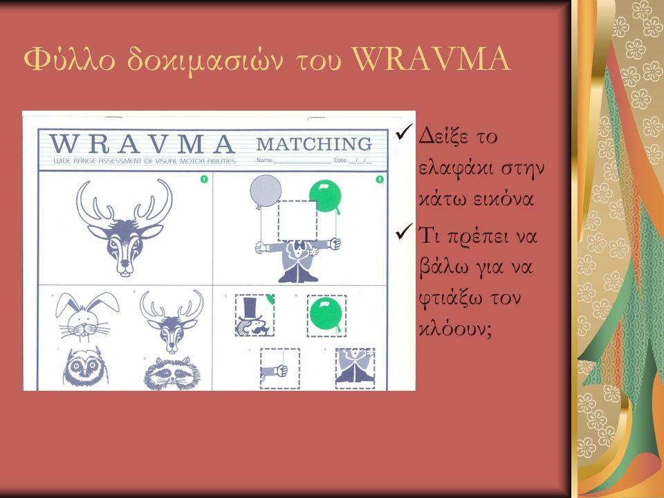 Φύλλο δοκιμασιών του WRAVMA