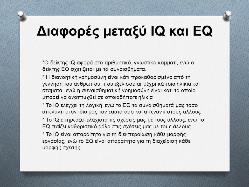 Διαφορές μεταξύ IQ και EQ