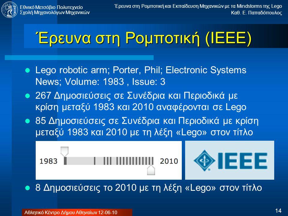 Έρευνα στη Ρομποτική (ΙΕΕΕ)