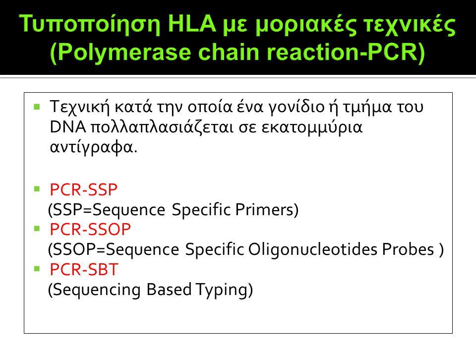 Τυποποίηση HLA με μοριακές τεχνικές (Polymerase chain reaction-PCR)