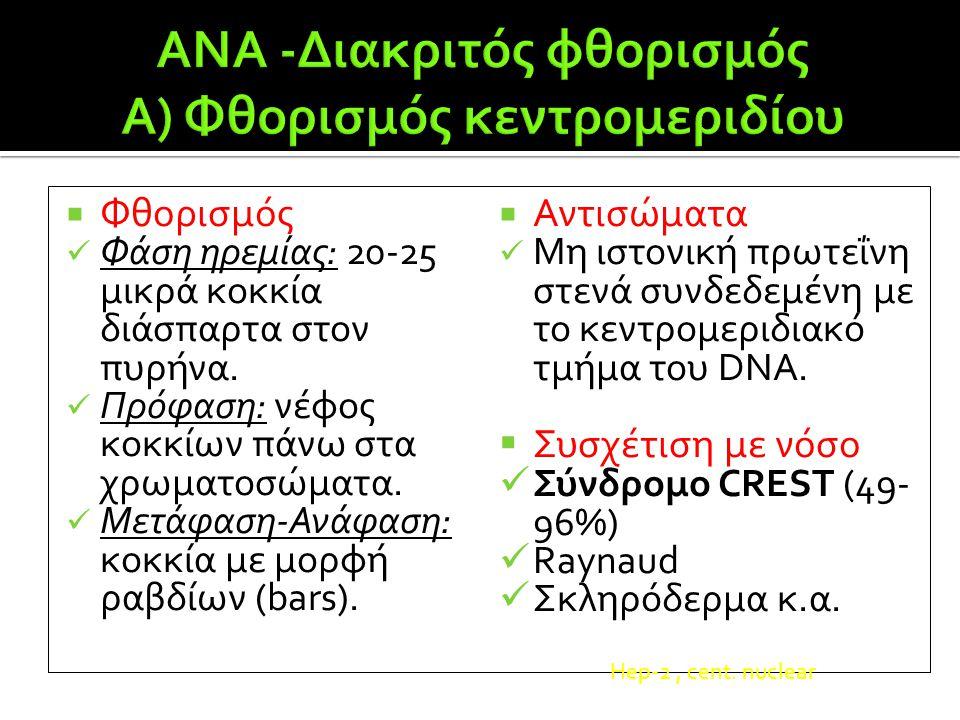 ANA -Διακριτός φθορισμός Α) Φθορισμός κεντρομεριδίου
