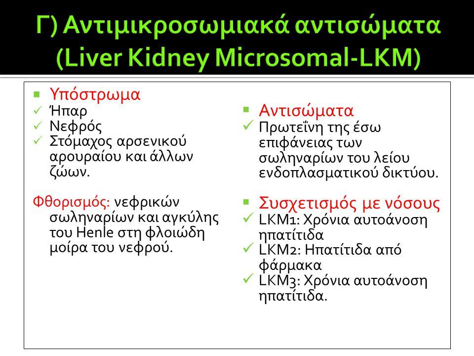 Γ) Αντιμικροσωμιακά αντισώματα (Liver Kidney Microsomal-LKM)