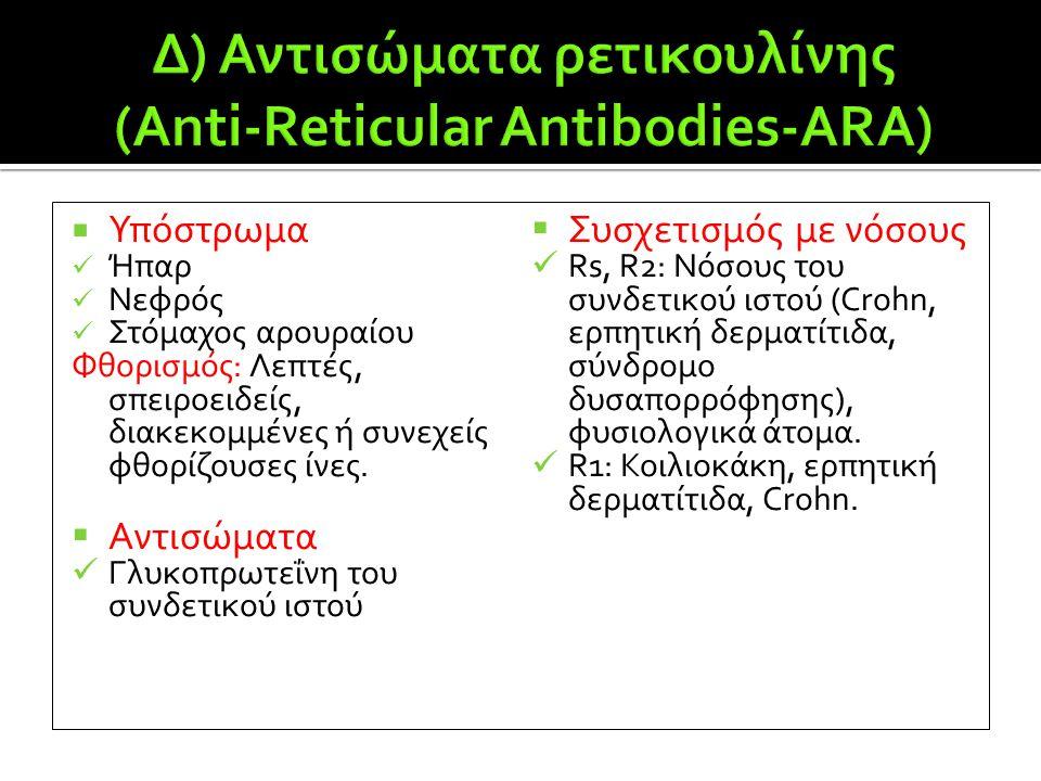 Δ) Αντισώματα ρετικουλίνης (Anti-Reticular Antibodies-ARA)
