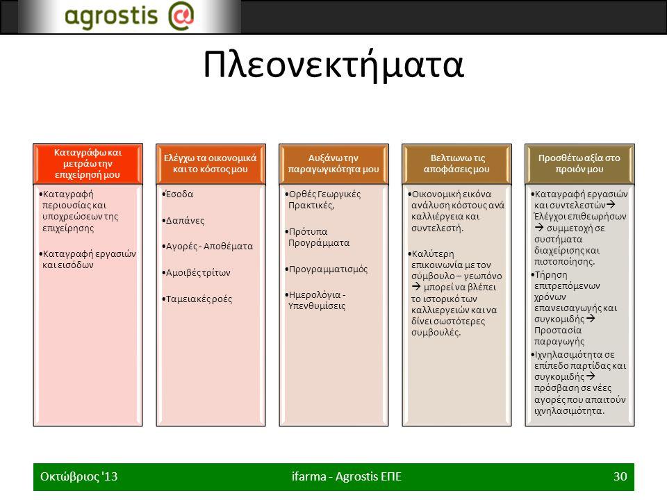 Πλεονεκτήματα Οκτώβριος 13 ifarma - Agrostis ΕΠΕ