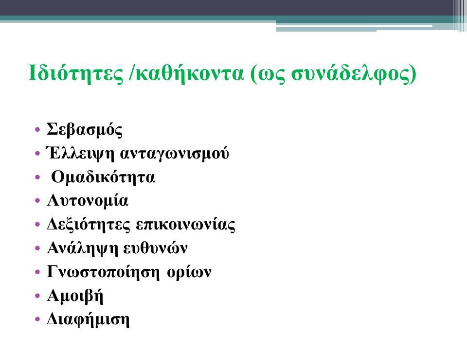 Ιδιότητες /καθήκοντα (ως συνάδελφος)