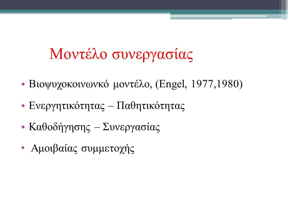 Μοντέλο συνεργασίας Βιοψυχοκοινωνκό μοντέλο, (Engel, 1977,1980)
