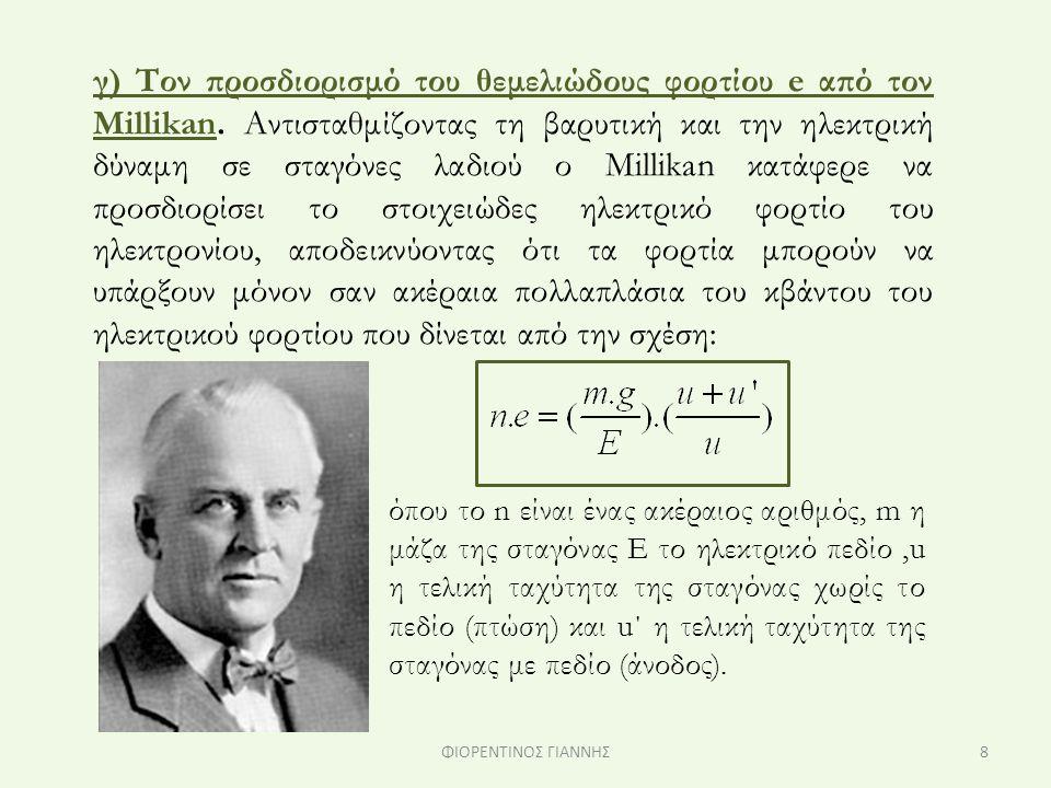 γ) Τον προσδιορισμό του θεμελιώδους φορτίου e από τον Millikan