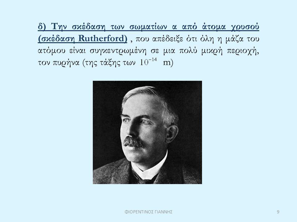δ) Την σκέδαση των σωματίων α από άτομα χρυσού (σκέδαση Rutherford) , που απέδειξε ότι όλη η μάζα του ατόμου είναι συγκεντρωμένη σε μια πολύ μικρή περιοχή, τον πυρήνα (της τάξης των m)
