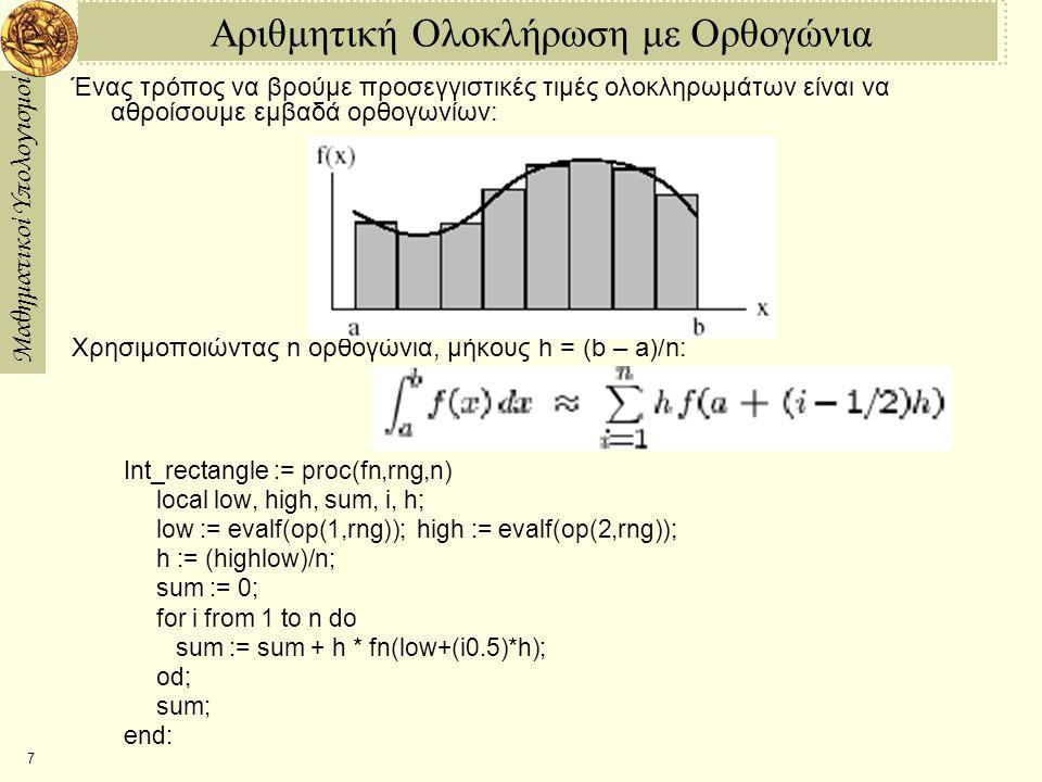 Αριθμητική Ολοκλήρωση με Ορθογώνια