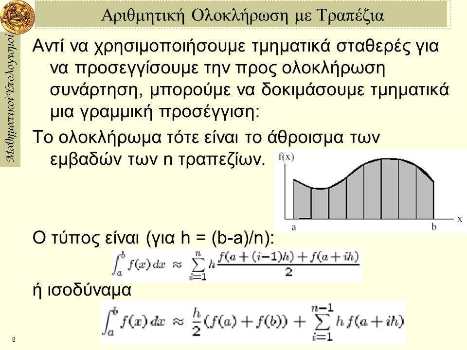 Αριθμητική Ολοκλήρωση με Τραπέζια