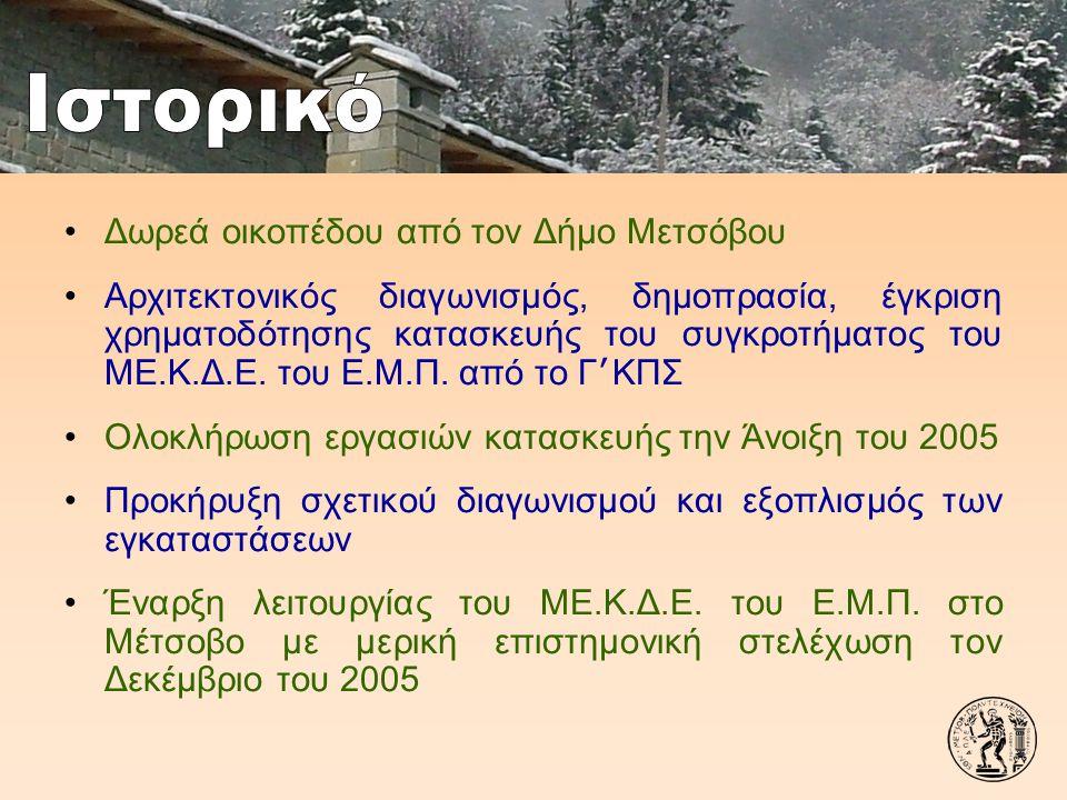 Ιστορικό Δωρεά οικοπέδου από τον Δήμο Μετσόβου