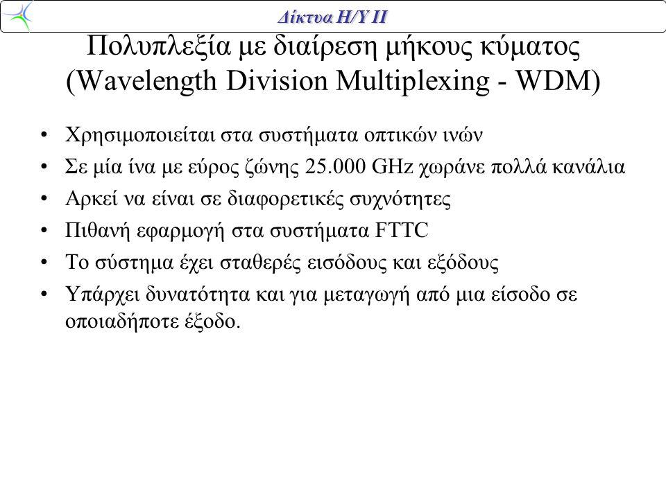 Πολυπλεξία με διαίρεση μήκους κύματος (Wavelength Division Multiplexing - WDM)