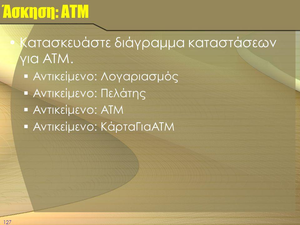 Άσκηση: ΑΤΜ Κατασκευάστε διάγραμμα καταστάσεων για ATM.