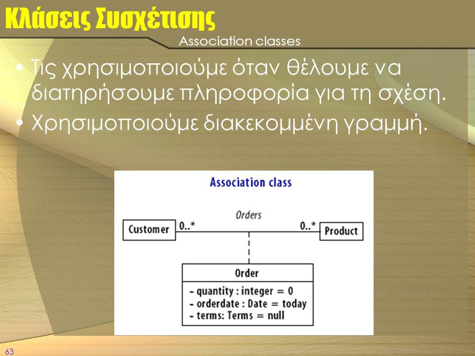 Κλάσεις Συσχέτισης Association classes. Τις χρησιμοποιούμε όταν θέλουμε να διατηρήσουμε πληροφορία για τη σχέση.