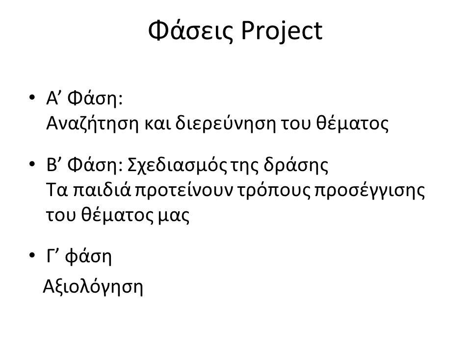 Φάσεις Project Α' Φάση: Αναζήτηση και διερεύνηση του θέματος