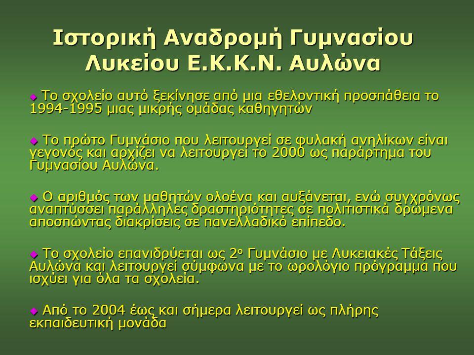 Ιστορική Αναδρομή Γυμνασίου Λυκείου Ε.Κ.Κ.Ν. Αυλώνα
