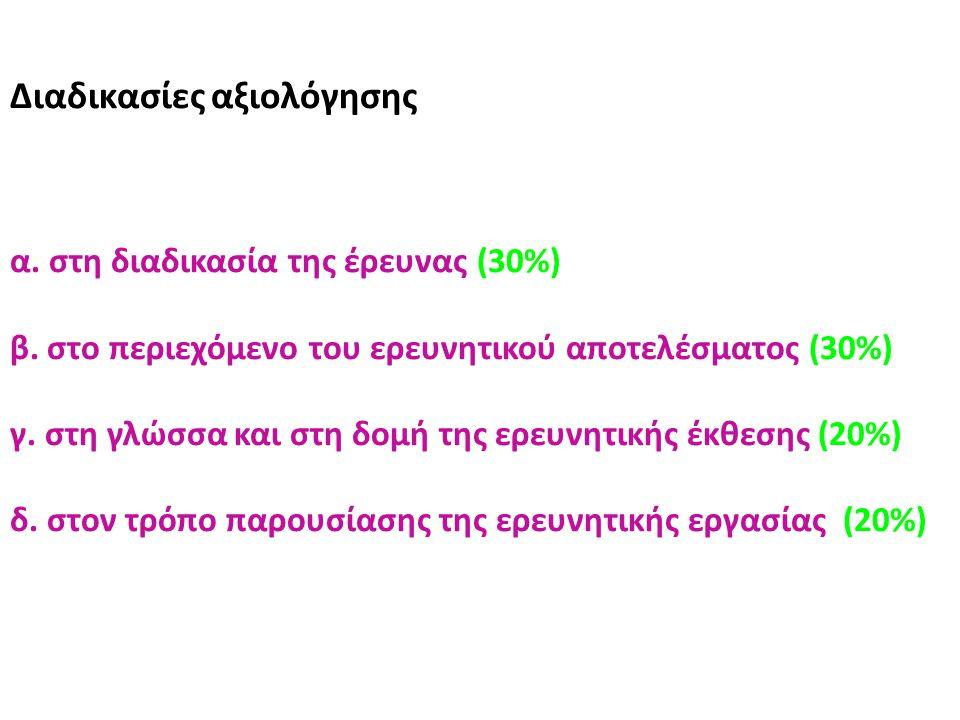 Διαδικασίες αξιολόγησης α. στη διαδικασία της έρευνας (30%) β