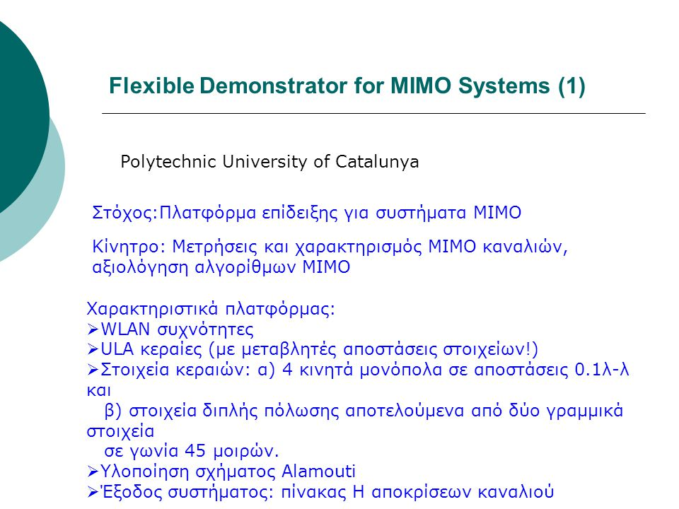 Flexible Demonstrator for MIMO Systems (1)