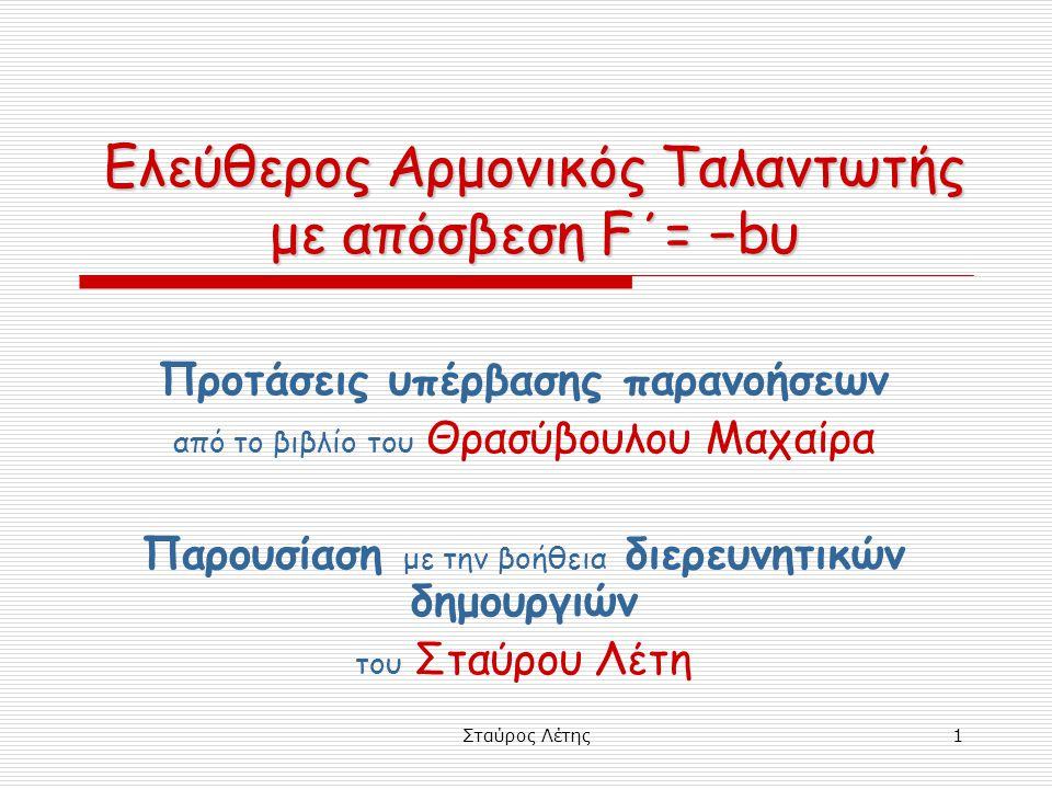 Ελεύθερος Αρμονικός Ταλαντωτής με απόσβεση F΄= −bυ