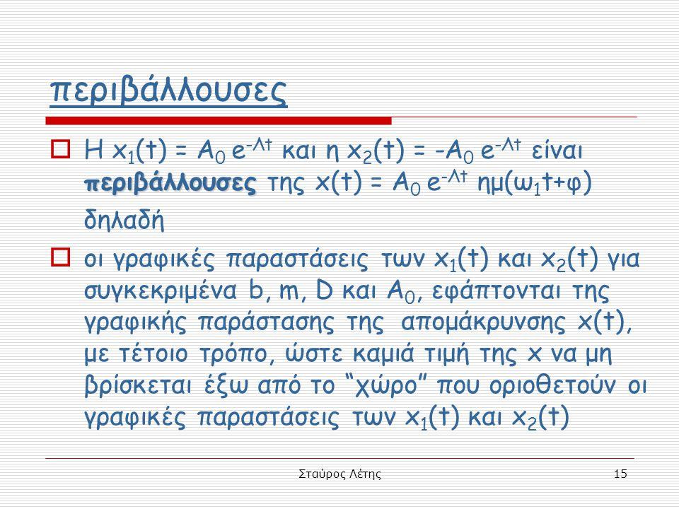 περιβάλλουσες Η x1(t) = A0 e-Λt και η x2(t) = -A0 e-Λt είναι περιβάλλουσες της x(t) = A0 e-Λt ημ(ω1t+φ)