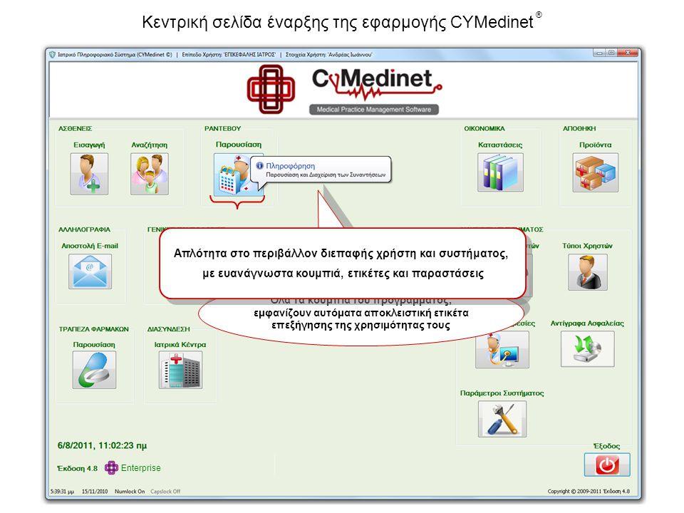 Κεντρική σελίδα έναρξης της εφαρμογής CYMedinet ®