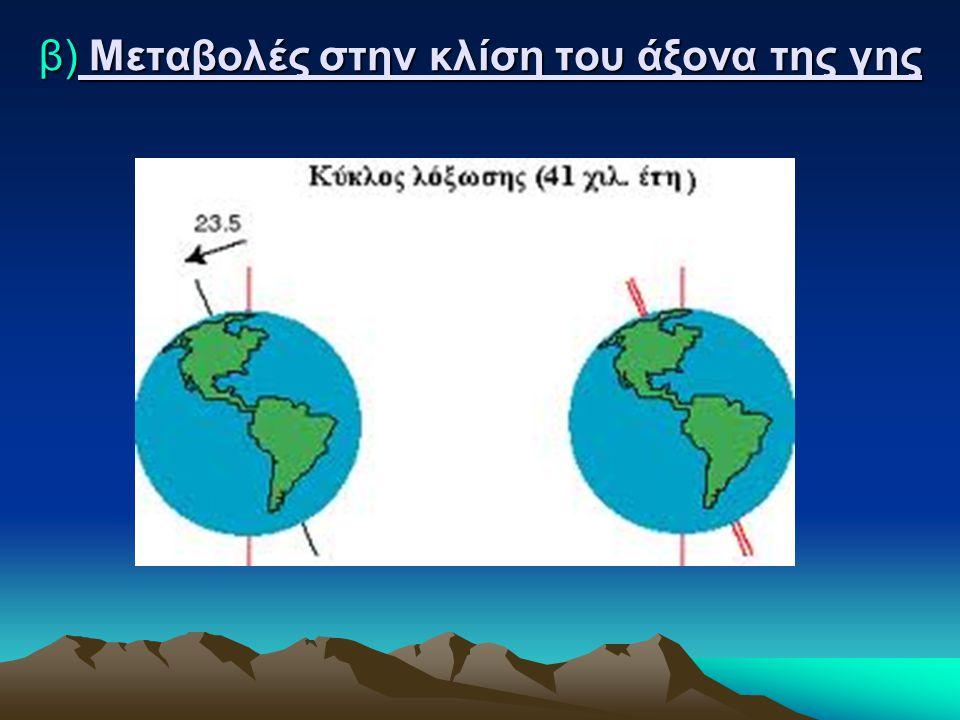 β) Μεταβολές στην κλίση του άξονα της γης