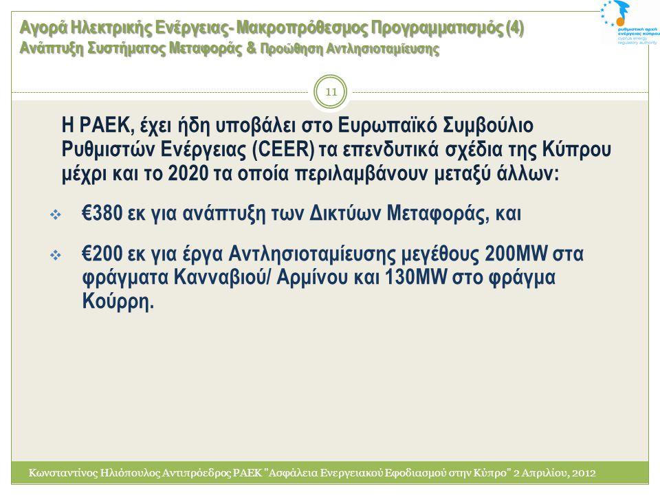 €380 εκ για ανάπτυξη των Δικτύων Μεταφοράς, και
