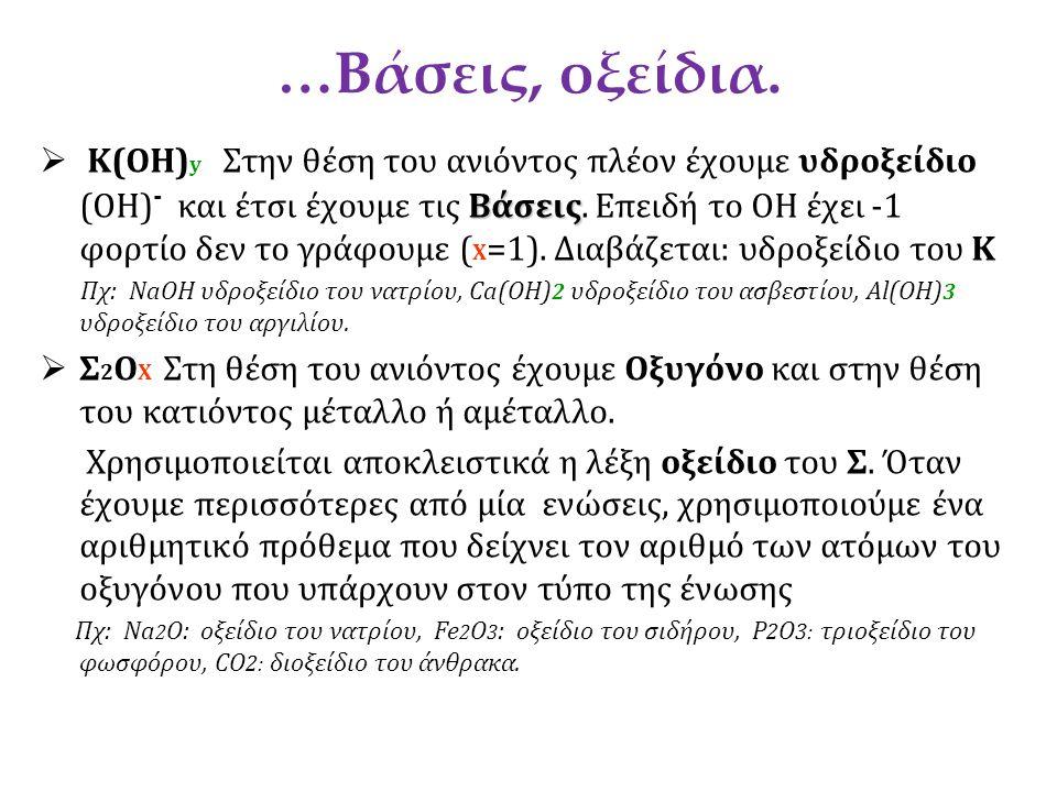 …Βάσεις, οξείδια.