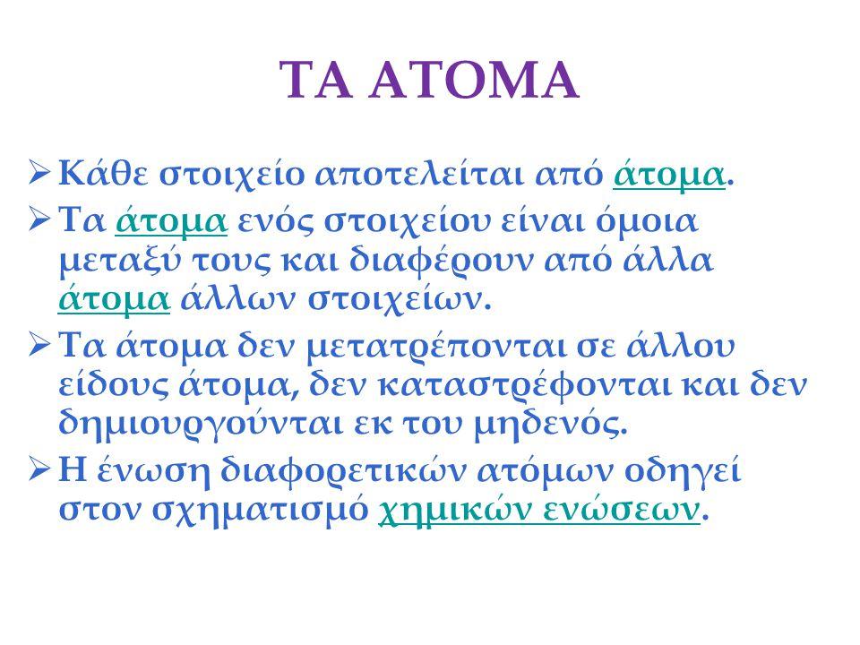 ΤΑ ΑΤΟΜΑ Κάθε στοιχείο αποτελείται από άτομα.