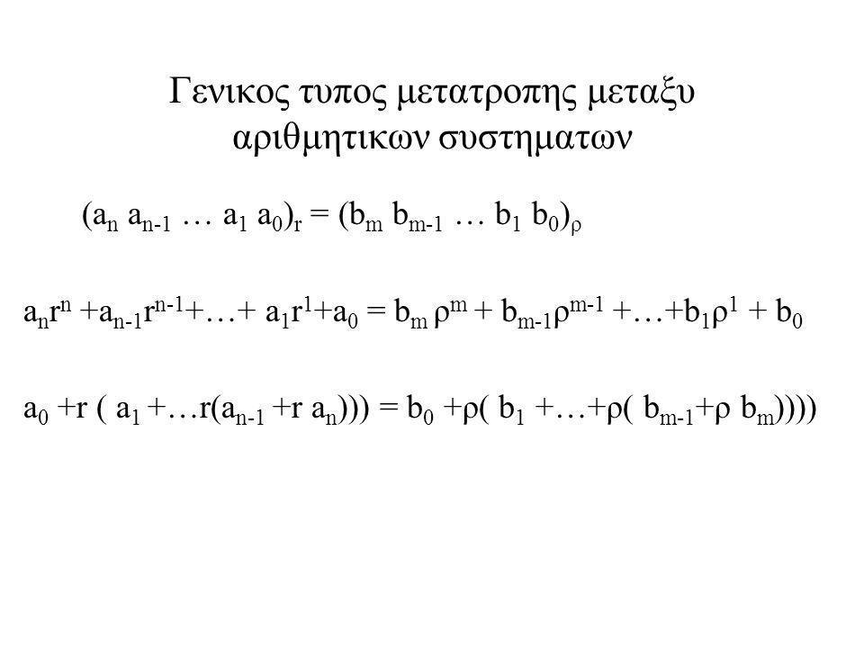 Γενικος τυπος μετατροπης μεταξυ αριθμητικων συστηματων