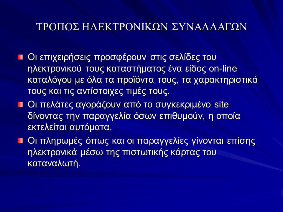 ΤΡΟΠΟΣ ΗΛΕΚΤΡΟΝΙΚΩΝ ΣΥΝΑΛΛΑΓΩΝ