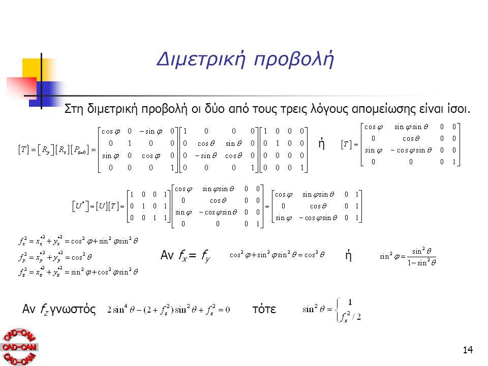 Διμετρική προβολή Στη διμετρική προβολή οι δύο από τους τρεις λόγους απομείωσης είναι ίσοι. ή. Αν fx = fy.