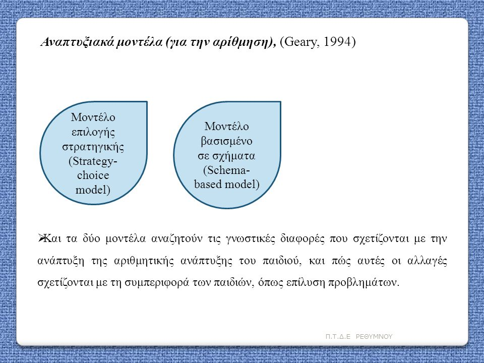 Αναπτυξιακά μοντέλα (για την αρίθμηση), (Geary, 1994)